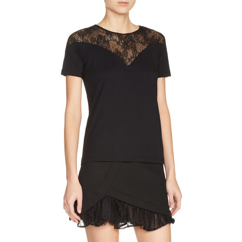 Dual-material top with lace : New in color Black 210