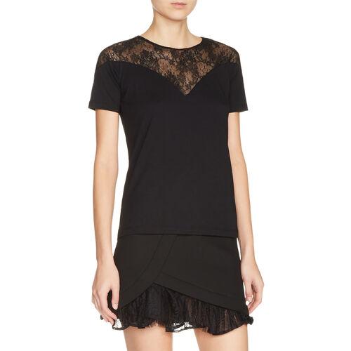 Top bimatière avec dentelle : T-shirts couleur Black