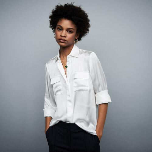 Chemise en satin et soie : Chemises couleur Blanc