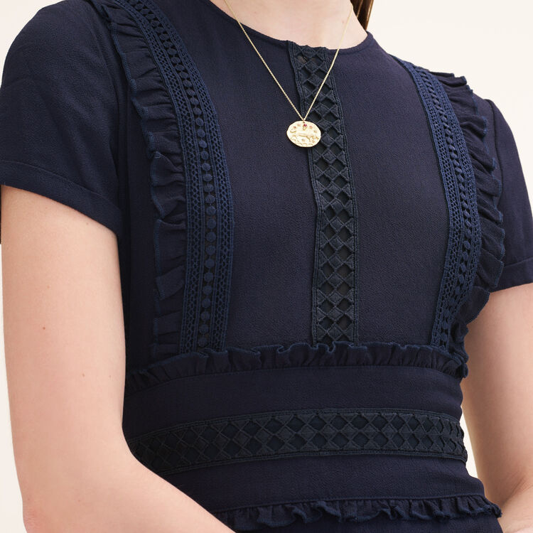 Robe courte avec détails volantés : Robes couleur Nuit