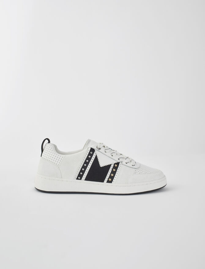 Baskets cuir blanches et noires - Toutes les chaussures - MAJE