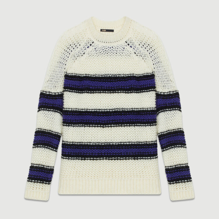 Pull oversize en maille tricolore : Maille couleur Violet