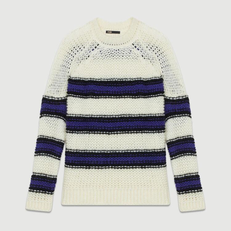 Pull oversize en maille tricolore : Maille couleur Violet