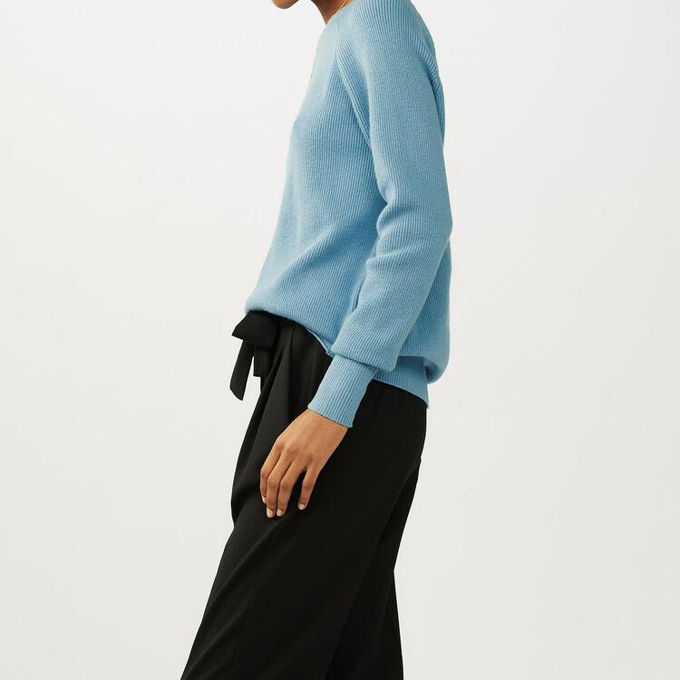 Pull avec bandes croisées au dos : Maille couleur Bleu Ciel