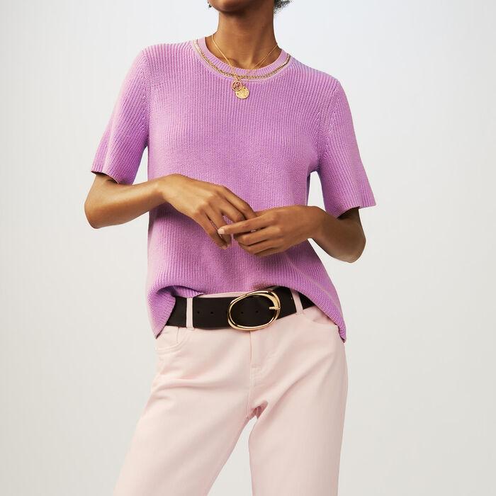 Pull à manches courtes en maille : Maille couleur LILAS