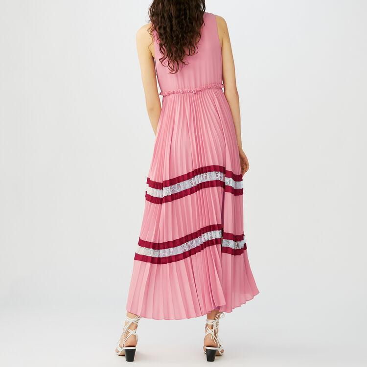 Robe longue plissée en crêpe : Robes couleur MULTICO