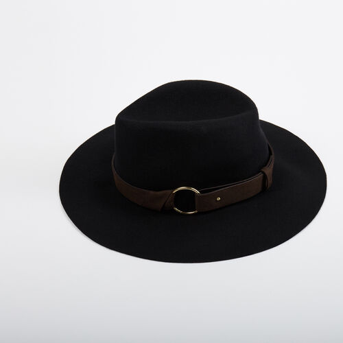 Felt hat with straps : Accessories color Black 210