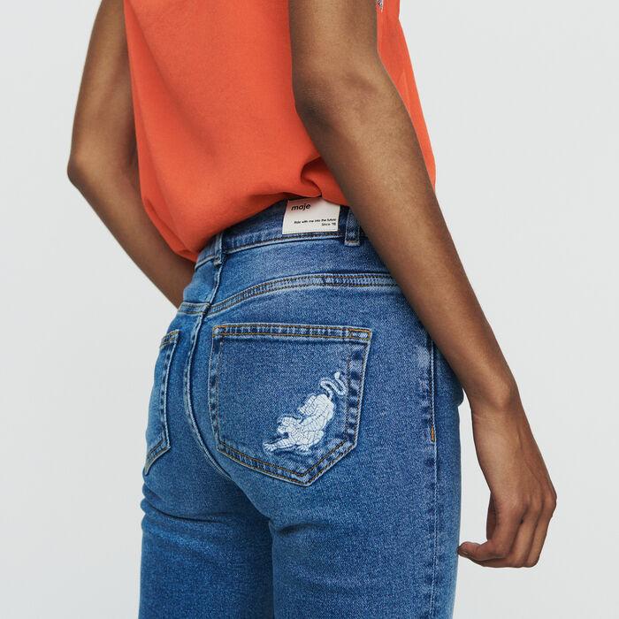 Jean droit avec franges et broderies : Pantalons & Jeans couleur Denim