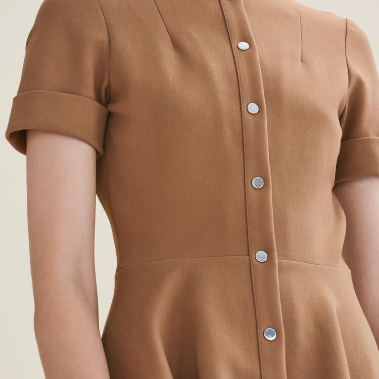 Robe patineuse boutonnée : Robes couleur Camel