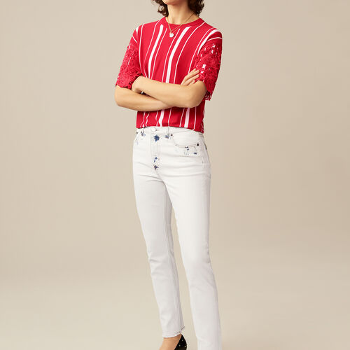 Straight-leg pants with contrast details : Jeans color White