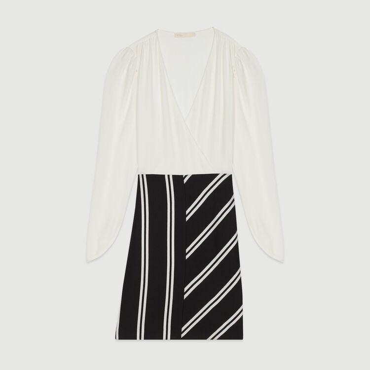 Robe droite bimatière : Robes couleur Blanc Casse