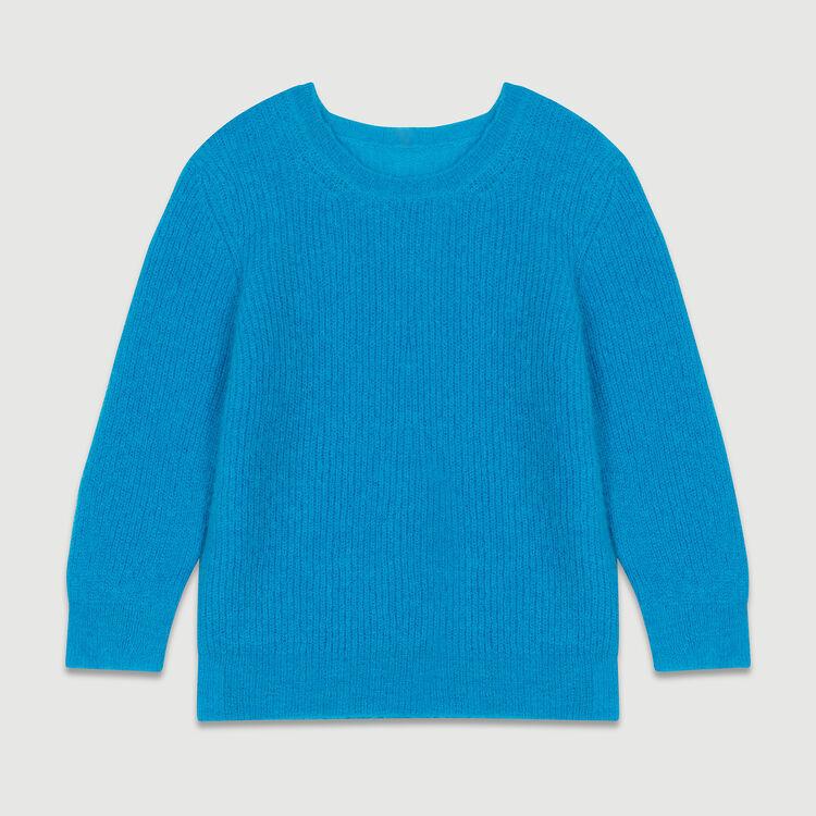 Pull court en mohair : Maille couleur Bleu