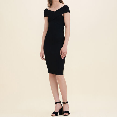 Ribbed knit sleeveless dress : Dresses color Black 210