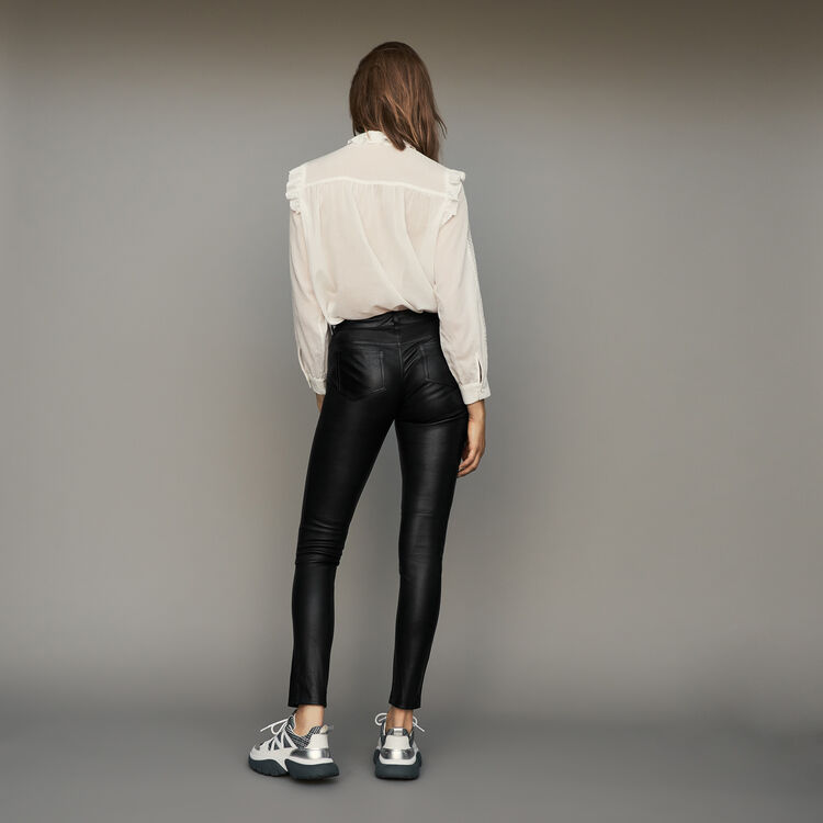 Pantalon cigarette en cuir d'agneau : Pantalons couleur Black