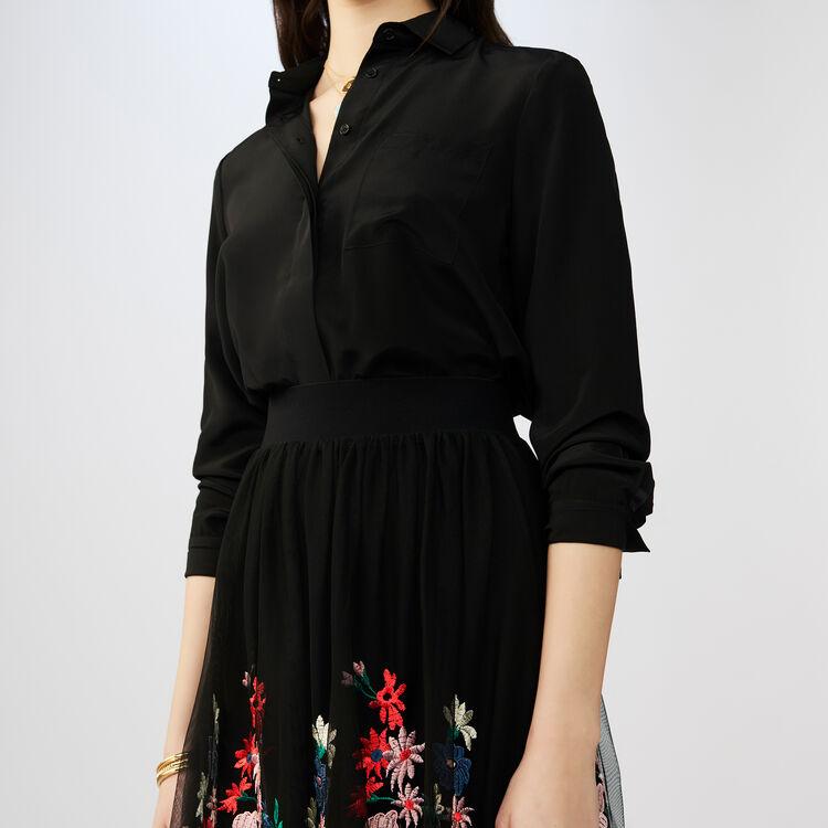 Jupon en tulle brodé : Jupes & Shorts couleur Black
