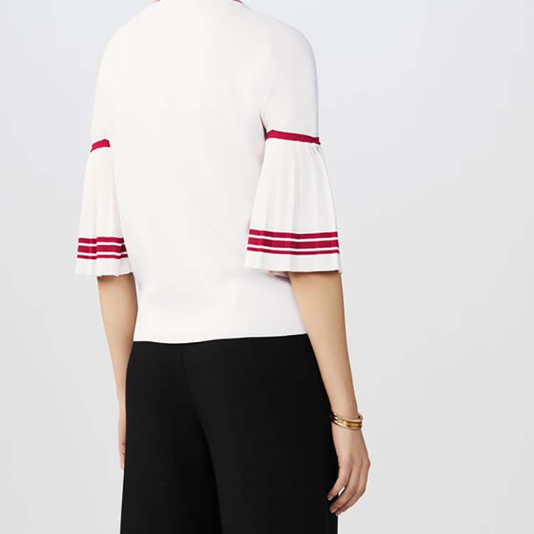 Pull fin avec manches plissées : Maille couleur BLANC