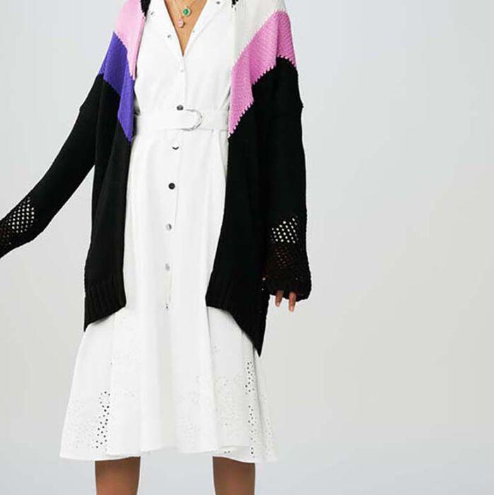 Cardigan long avec détails colorés : Maille couleur MULTICO