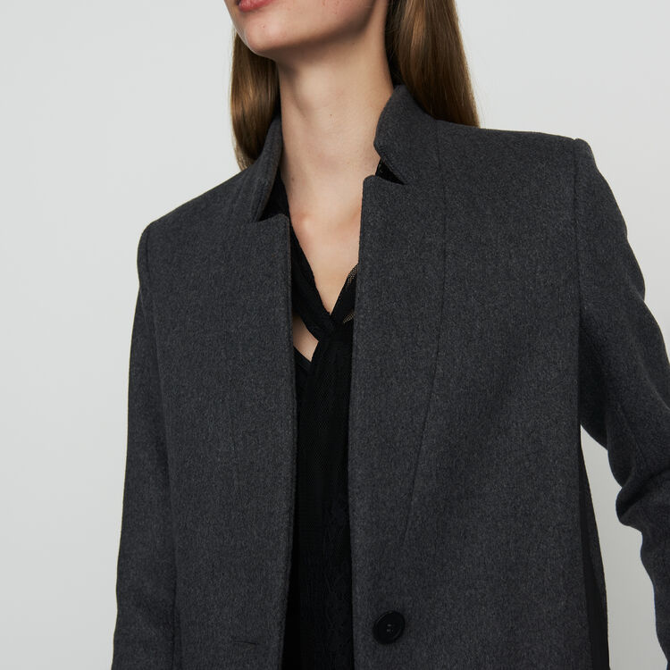 Manteau droit bordé de satin : Manteaux couleur Anthracite