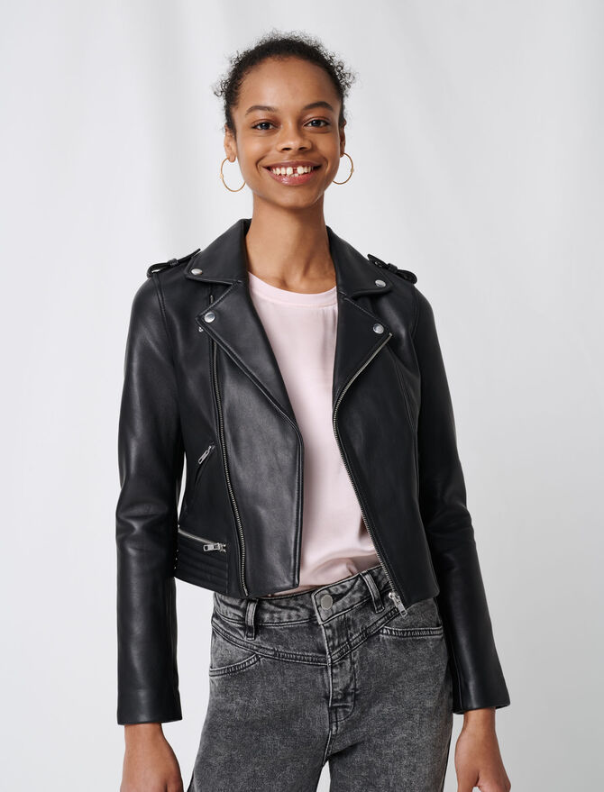 Leather biker jacket - First stone selection - MAJE