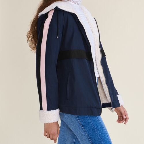 Two-tone cropped parka : Coats color Navy