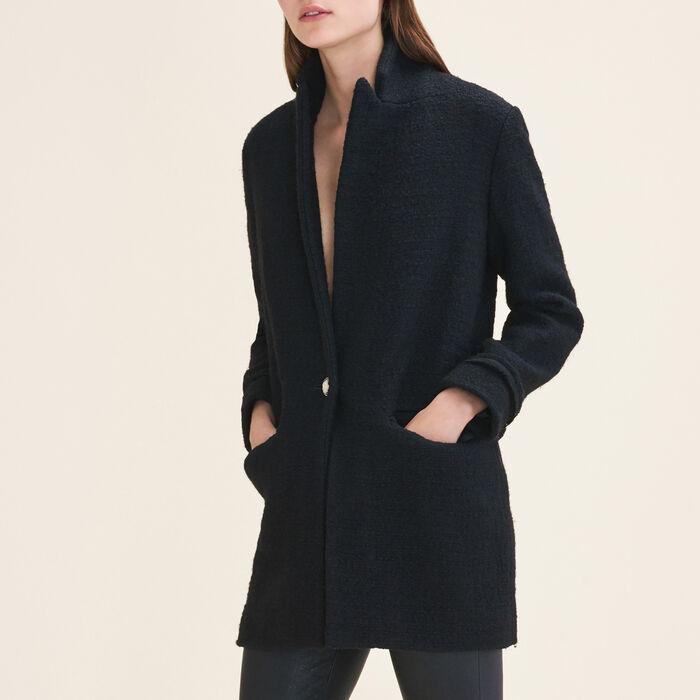 Veste mi-longue en tweed : Blousons & Vestes couleur Black