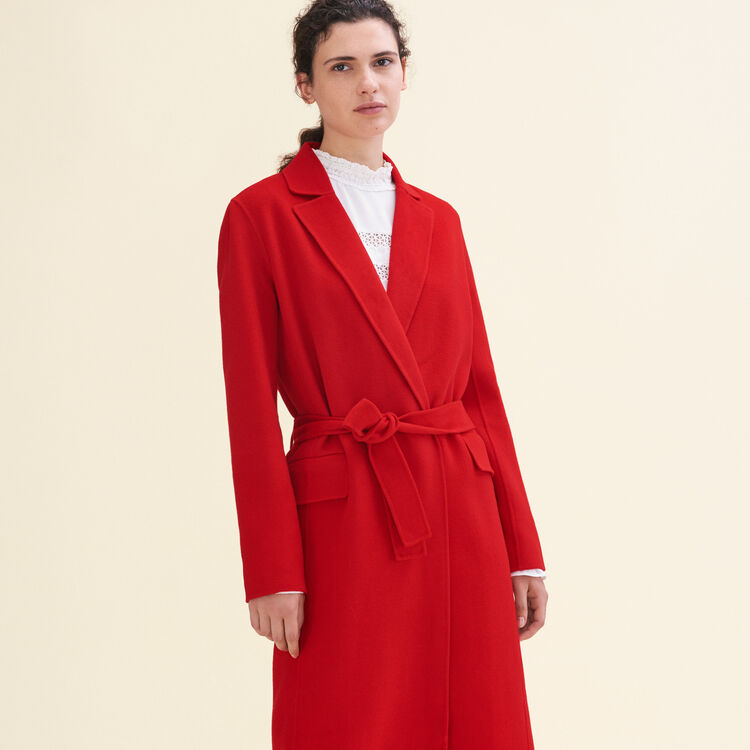 Manteau long en laine double face : Manteaux couleur Rouge