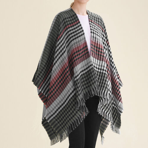 Multi-coloured houndstooth poncho - Scarves - MAJE