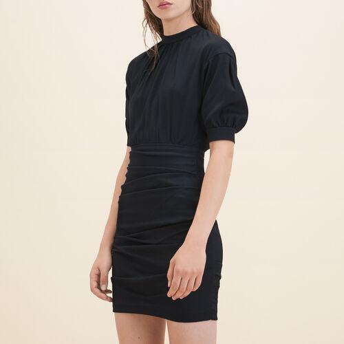 Robe drapée bimatière - Robes - MAJE