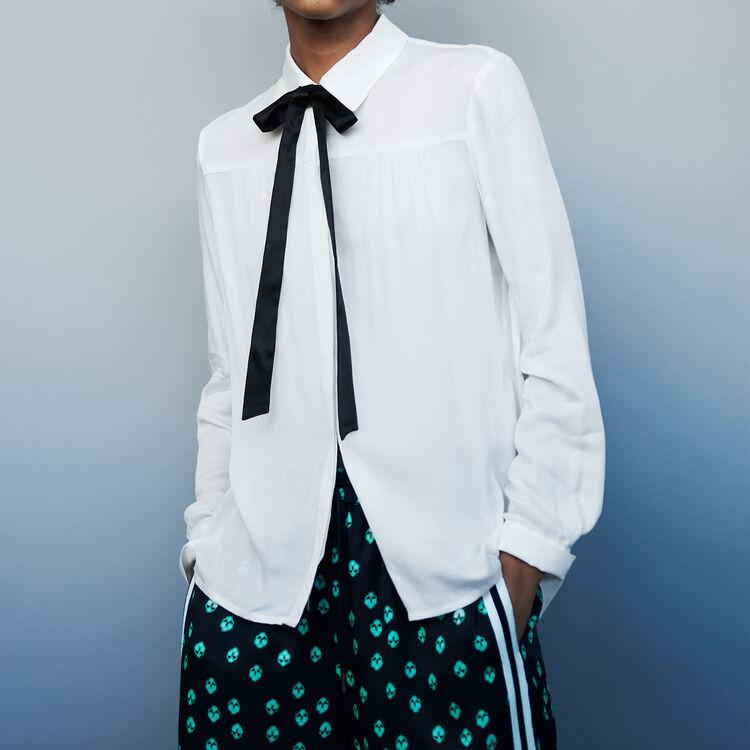 Chemise avec col et lavalière : Chemises couleur ECRU