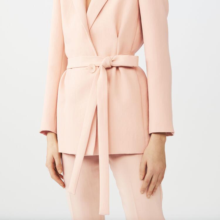 Veste longue de tailleur à pinces : Vestes couleur Rose