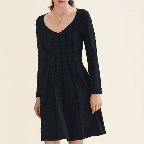Robe en maille avec broderies : Robes couleur Black