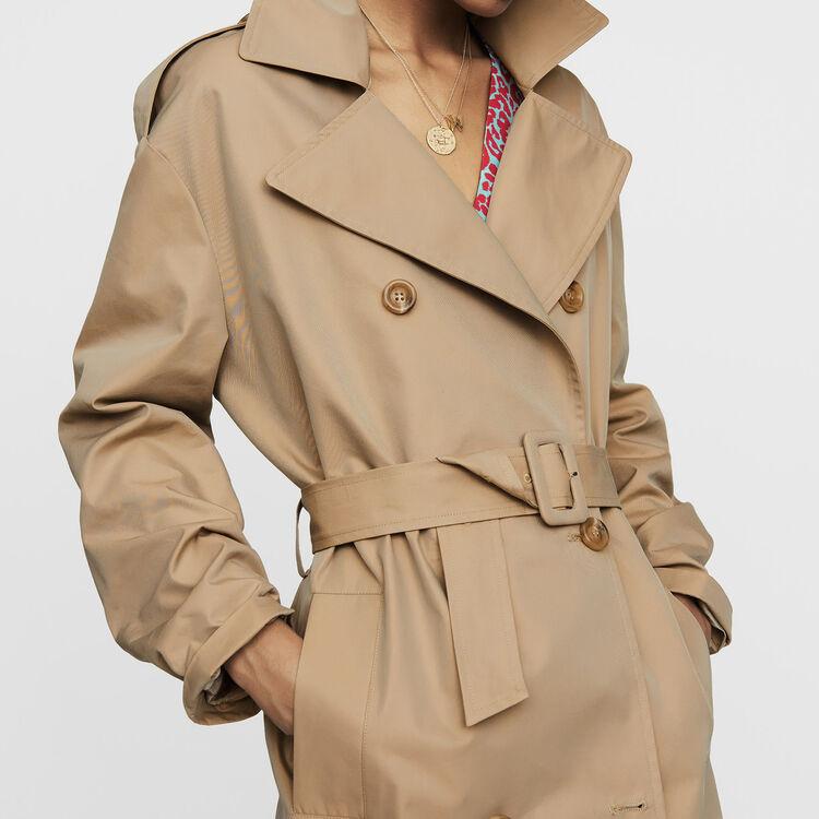 Trench basique en toile : Manteaux couleur Beige