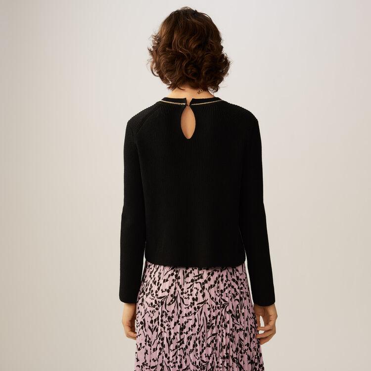 Pull fin en coton mélangé avec chaînette : Maille couleur Black