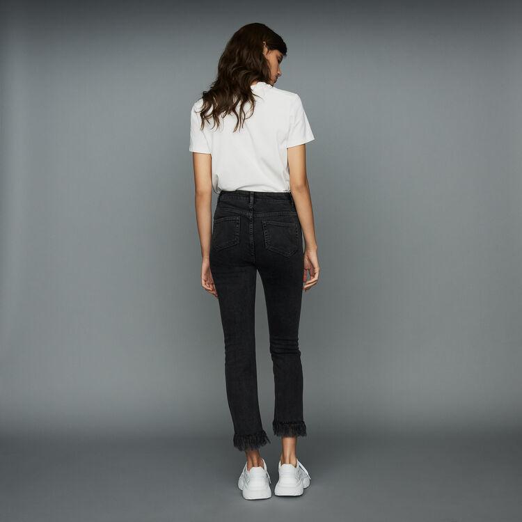 Jeanlarge avec franges : Jeans couleur Black