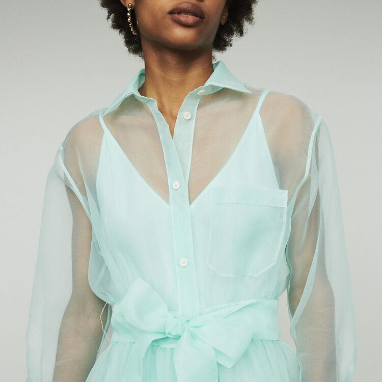Robe-chemise longue façon organza : Robes couleur Vert D'Eau