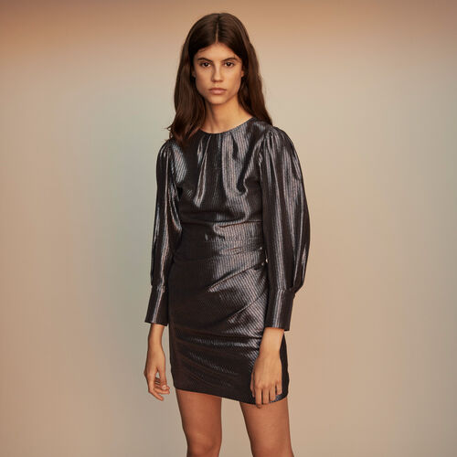 Yoke dress in Lurex : Winter collection color Silver