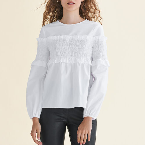 Top with smocking : Tops color White