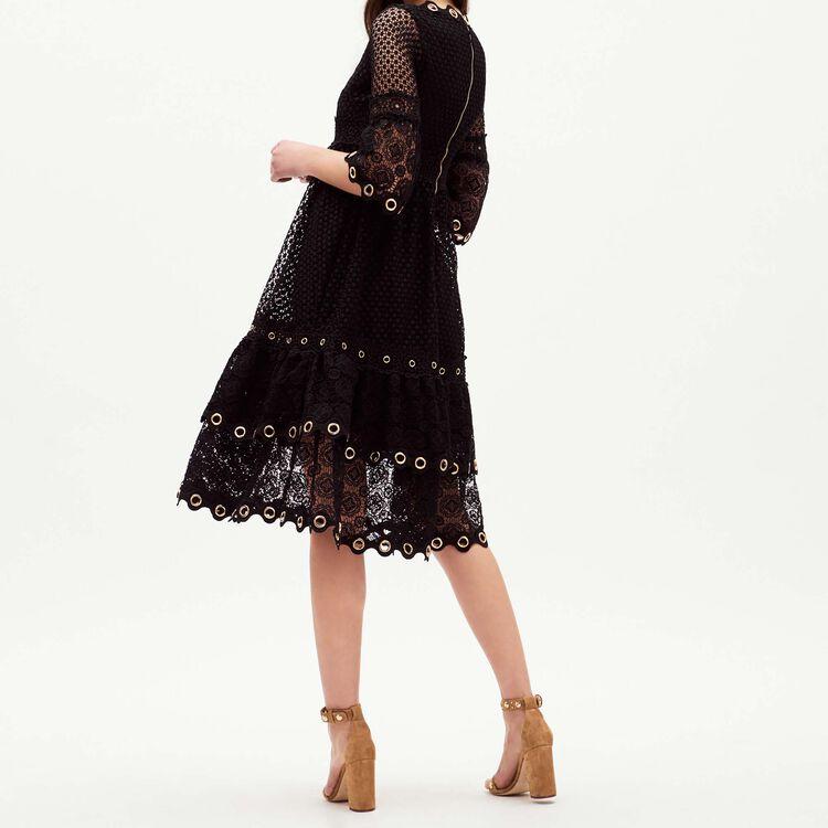 Robe longue en guipure : Robes couleur Black