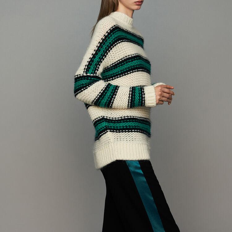 Pull oversize en maille à tricolore : Prêt-à-porter couleur Vert