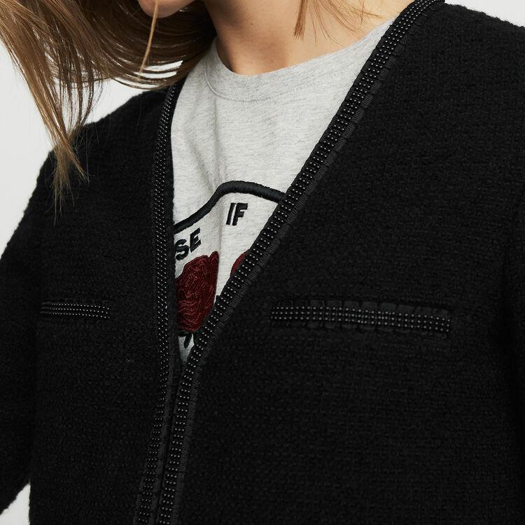 Veste courte en maille bouclette : Vestes couleur Black