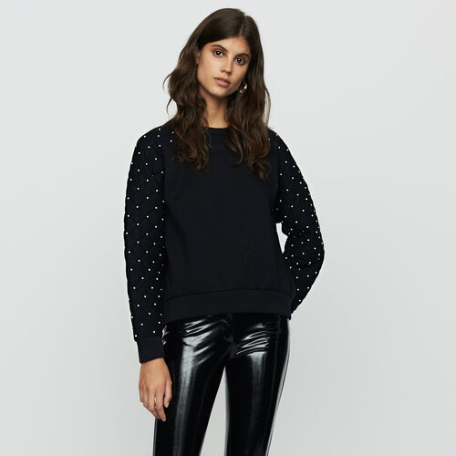 Sweat-shirt avec perles : Maille couleur Black