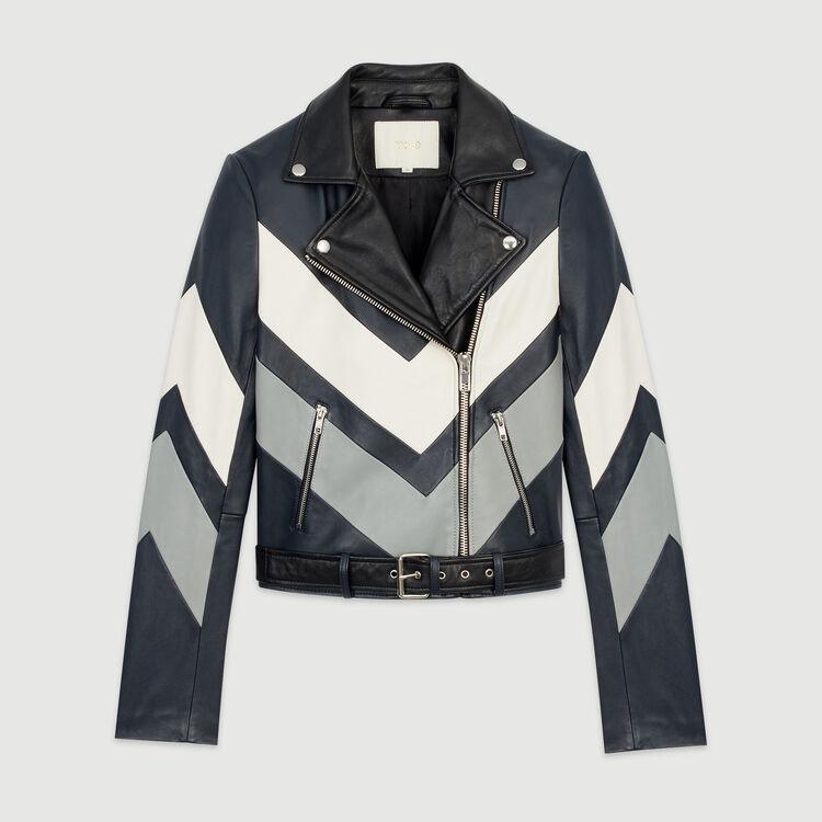 Blouson biker en cuir : Manteaux & Blousons couleur MULTICO