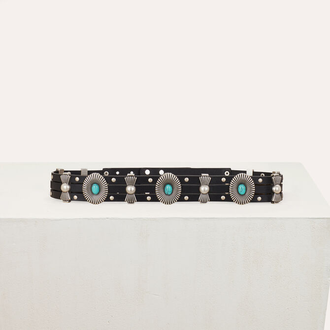 High-waisted leather belt with studs - Accessories - MAJE