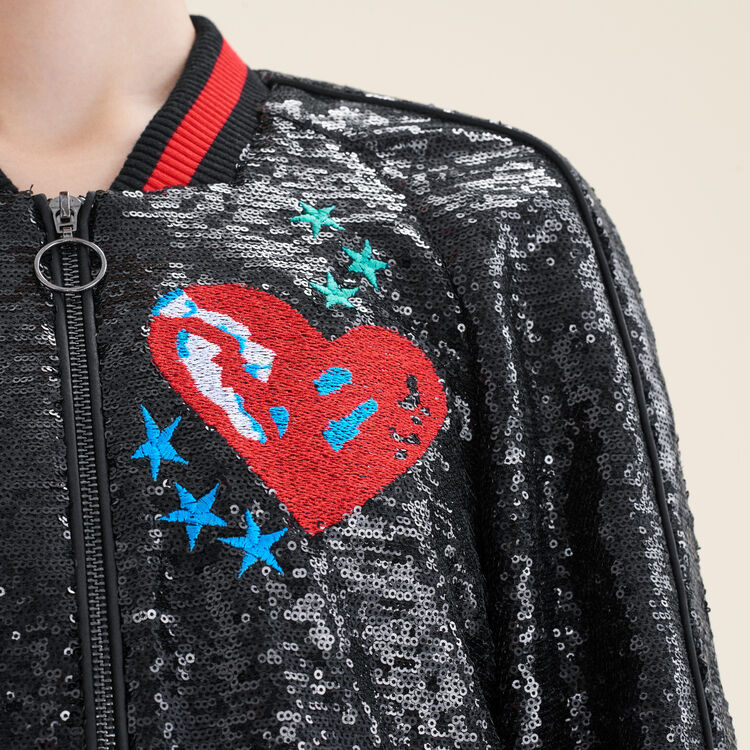Teddy en sequins : Pulls & Cardigans couleur Black