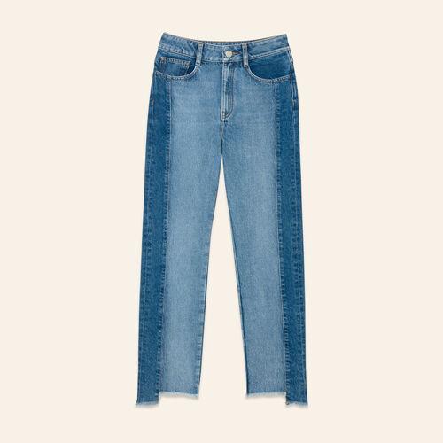 Jean droit en denim délavé : Pantalons & Jeans couleur BLEU
