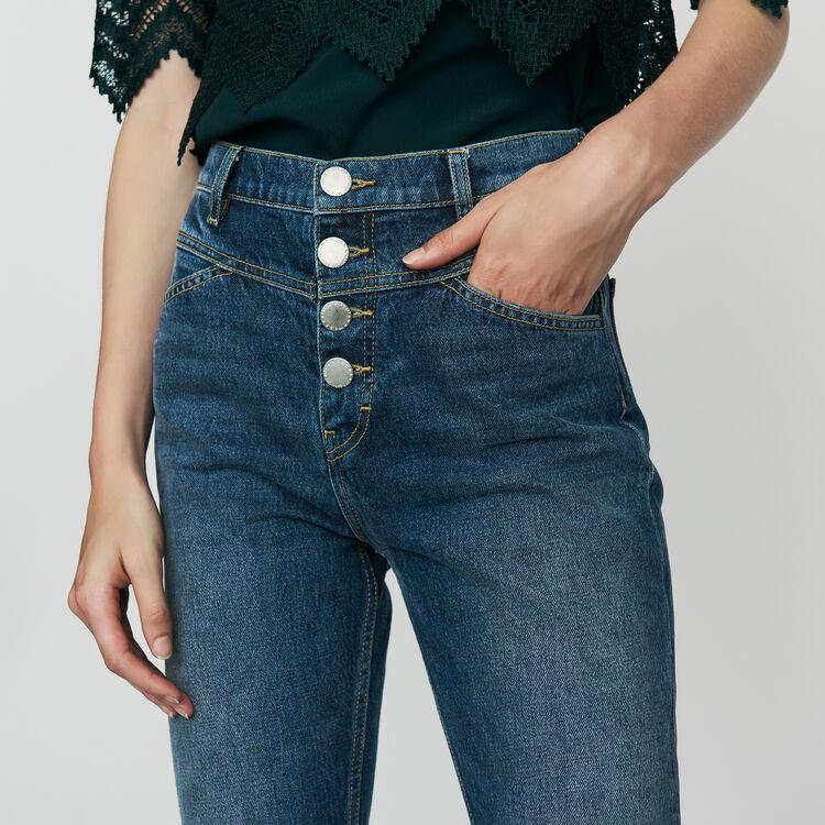 Jean droit à taille haute : Jeans couleur Bleu