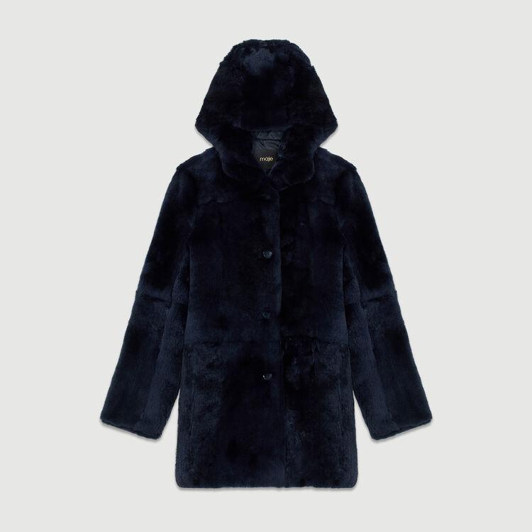 Manteau court à capuche en fourrure : Manteaux couleur Nuit