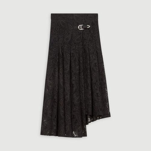 Jupe en guipure à motif cachemire : Jupes & Shorts couleur Noir