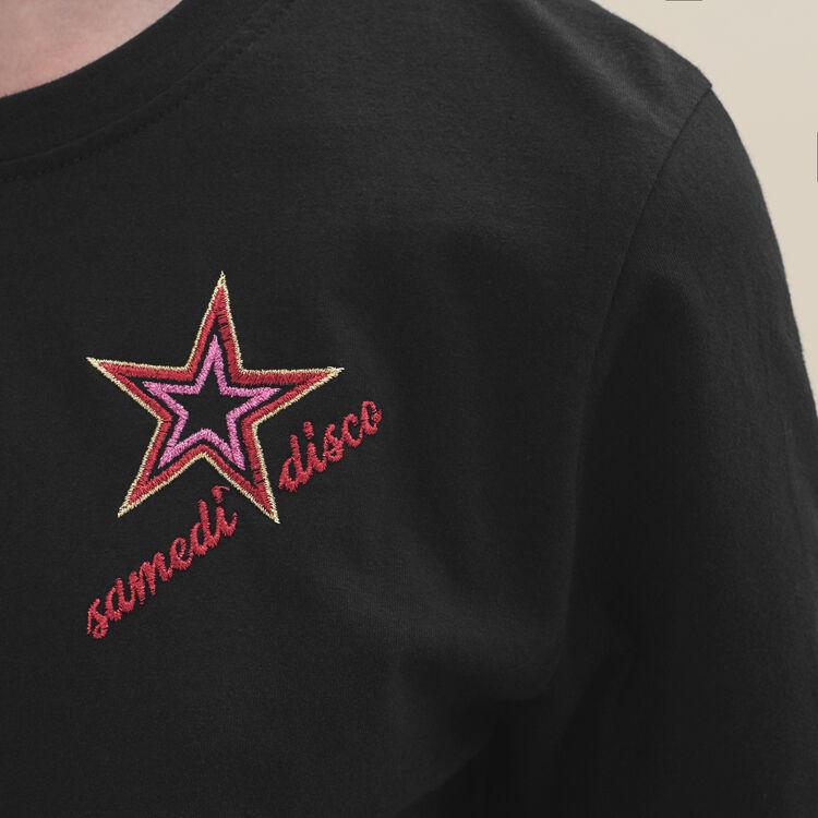 Tee-shirt brodé : T-shirts couleur Black