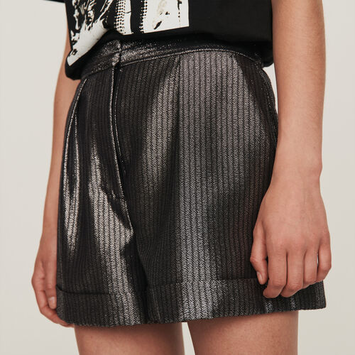 Cuffed shorts in Lurex : Skirts & Shorts color Silver